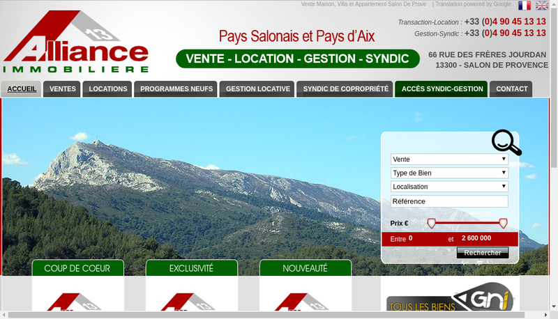 Capture d'écran du site de Alliance Immobiliere 13
