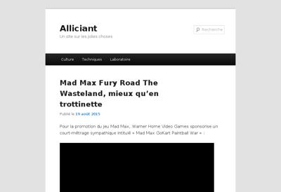 Capture d'écran du site de Alliciant