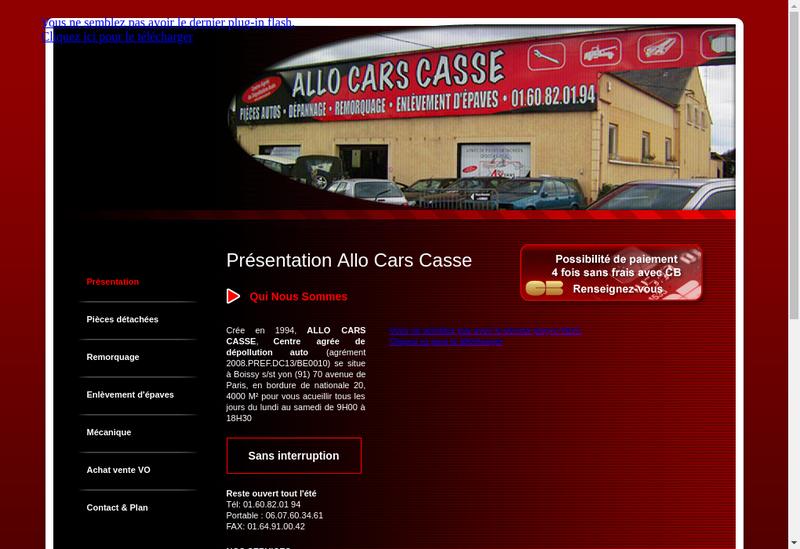Capture d'écran du site de Allo Cars Casse