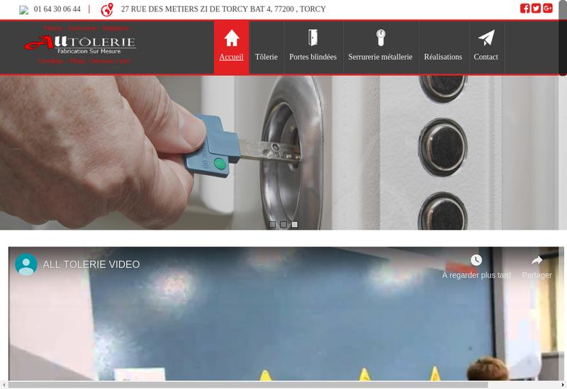 Capture d'écran du site de All Tolerie