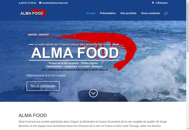 Capture d'écran du site de Alma Food