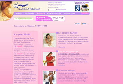 Capture d'écran du site de Almafil
