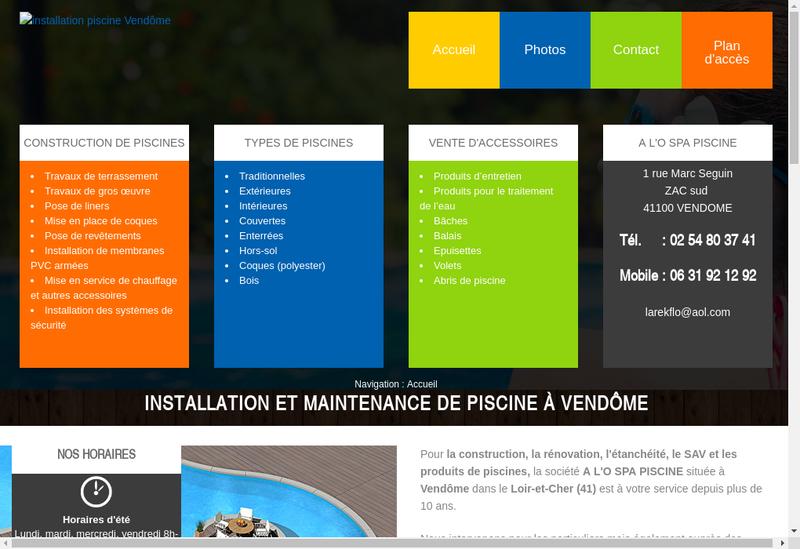 Capture d'écran du site de A l'O Spa Piscine