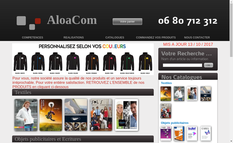 Capture d'écran du site de Aloacom