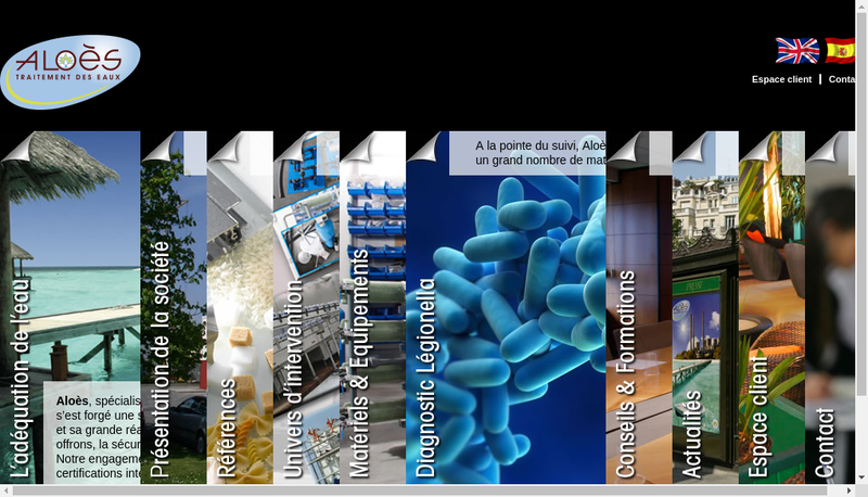 Capture d'écran du site de Aloes Traitement des Eaux