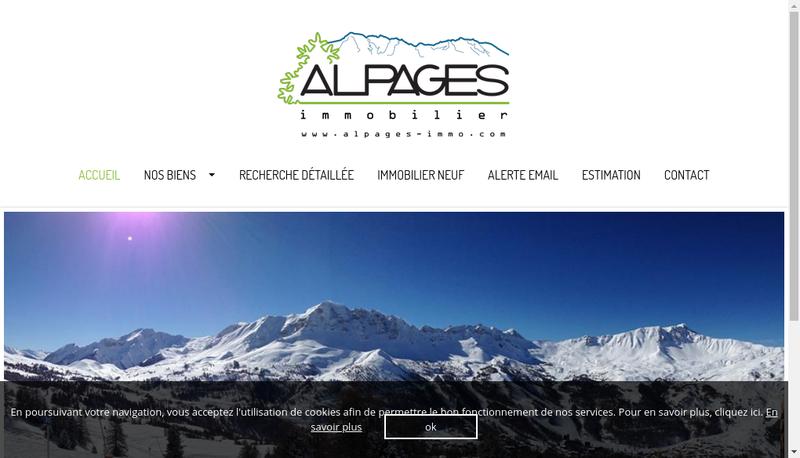 Capture d'écran du site de Alpages Immobilier