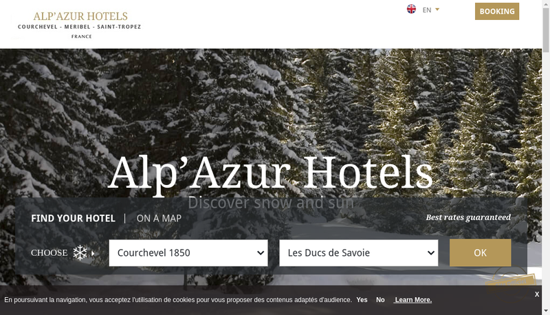 Capture d'écran du site de Alp'Azur Hotels