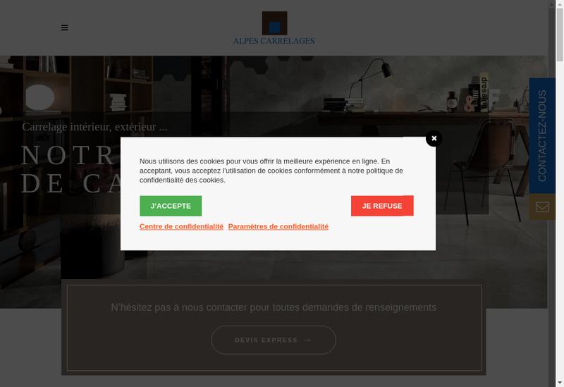 Capture d'écran du site de Alpes Carrelages