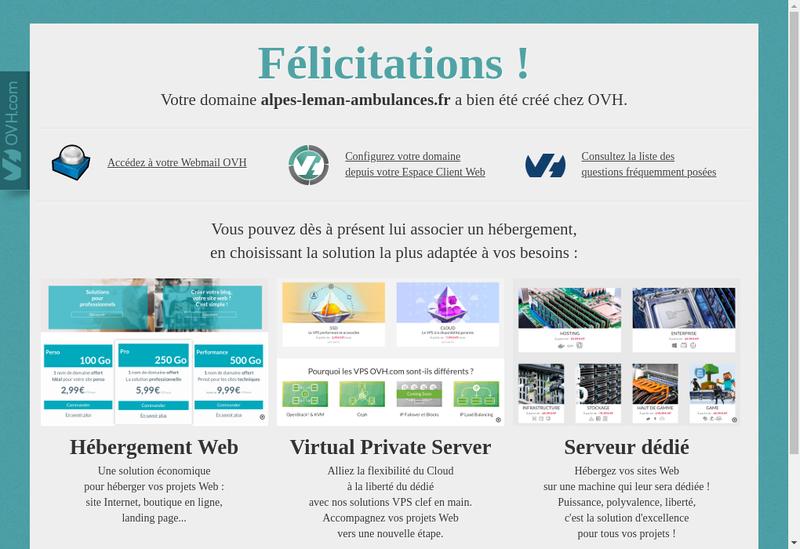 Capture d'écran du site de Alpes Leman Ambulances
