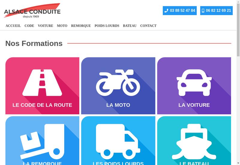 Capture d'écran du site de Alsace Conduite