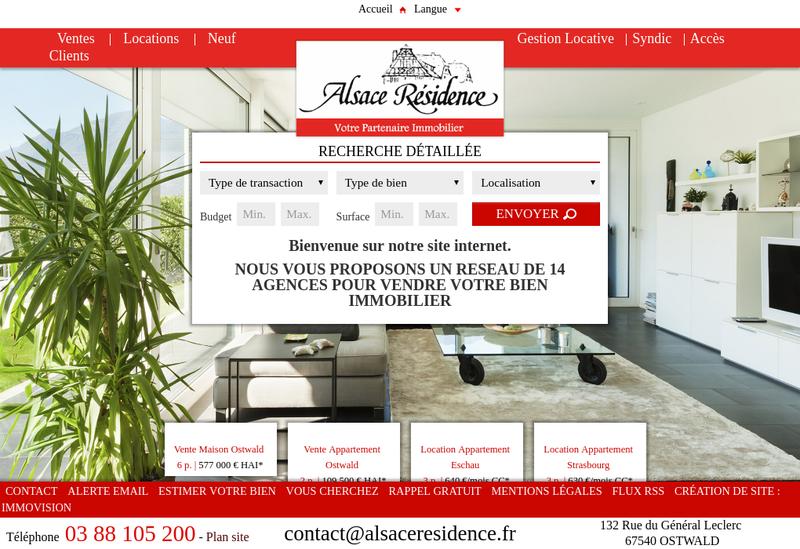 Capture d'écran du site de Alsace Residence