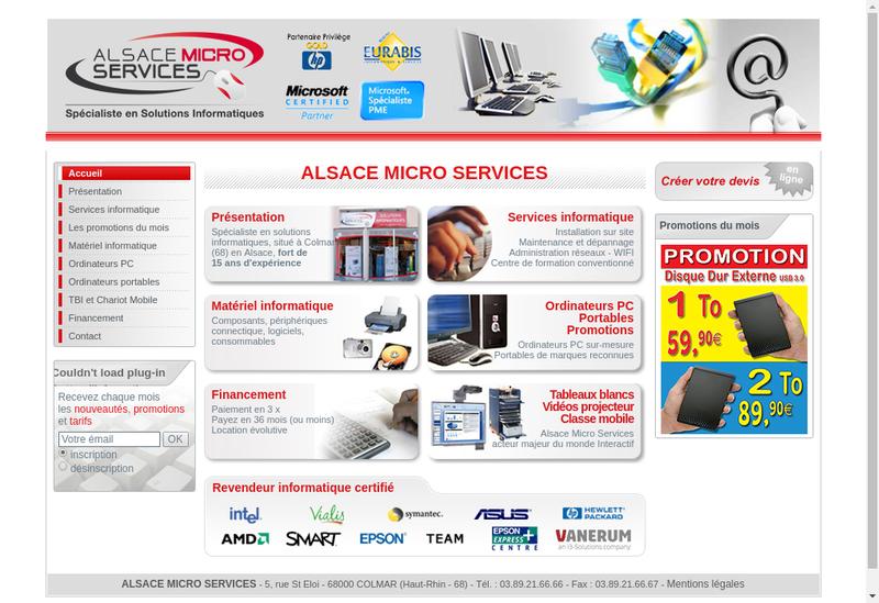 Capture d'écran du site de Alsace Micro Services