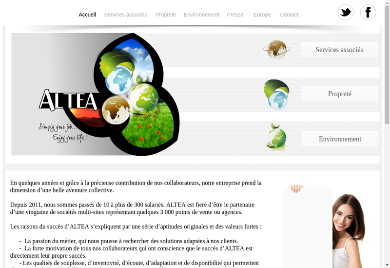 Capture d'écran du site de Altea Services
