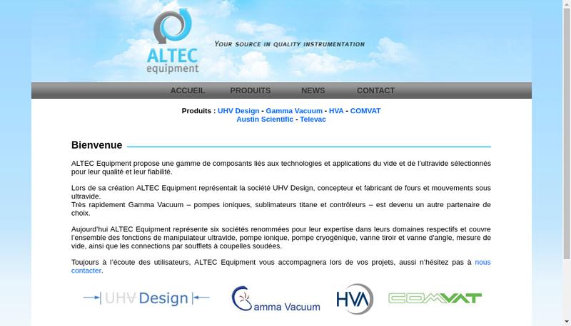 Capture d'écran du site de Altec Equipment