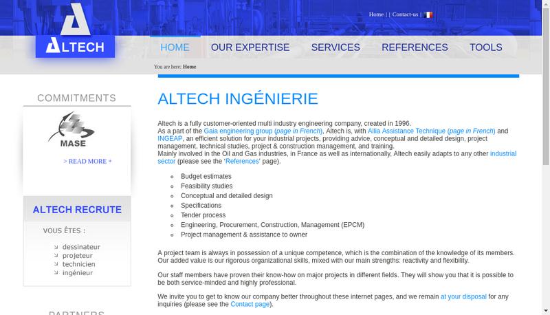Capture d'écran du site de Altech