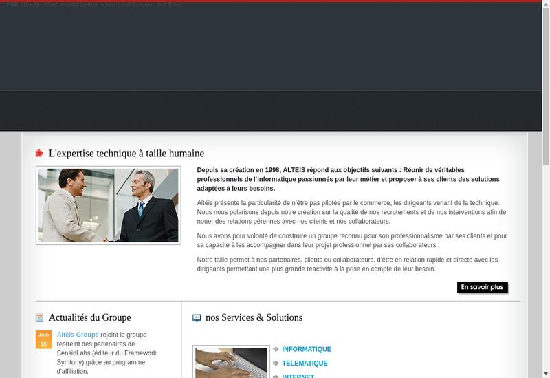 Capture d'écran du site de Alteis Groupe