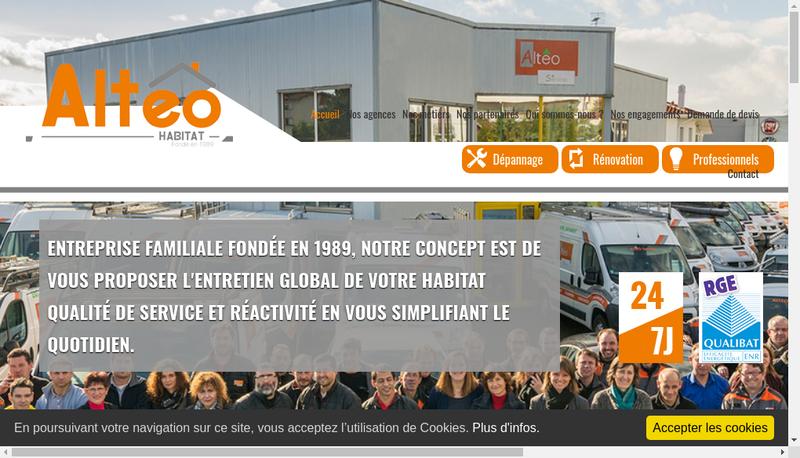 Capture d'écran du site de Alteo Services