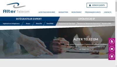 Capture d'écran du site de Alter Telecom