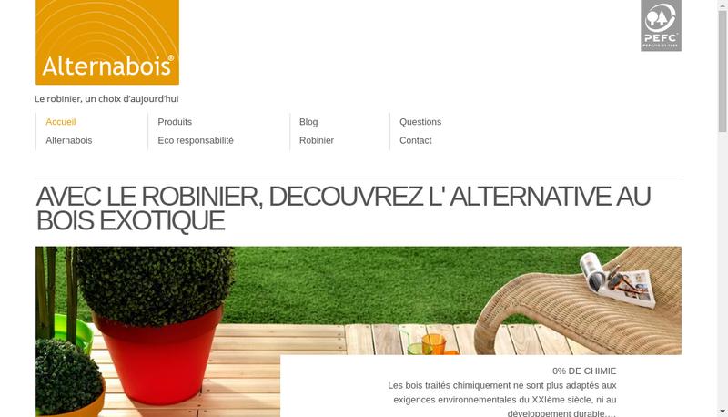 Capture d'écran du site de Alternabois