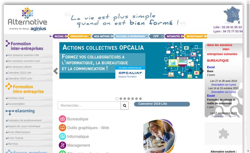 Capture d'écran du site de Alternative
