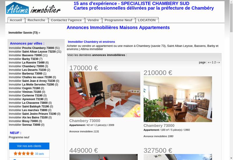 Capture d'écran du site de Altima Immobilier