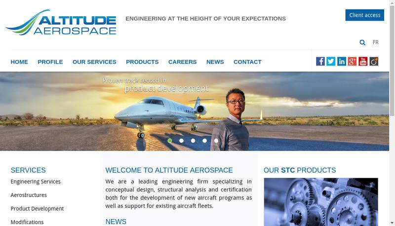 Capture d'écran du site de Altitude Aerospace France