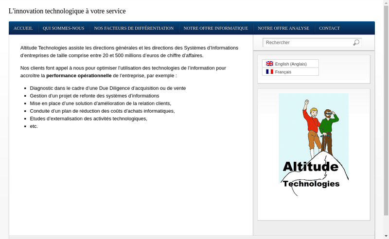 Capture d'écran du site de Altitude Technologies