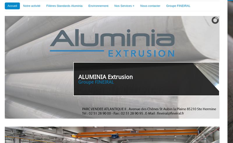 Capture d'écran du site de Aluminia
