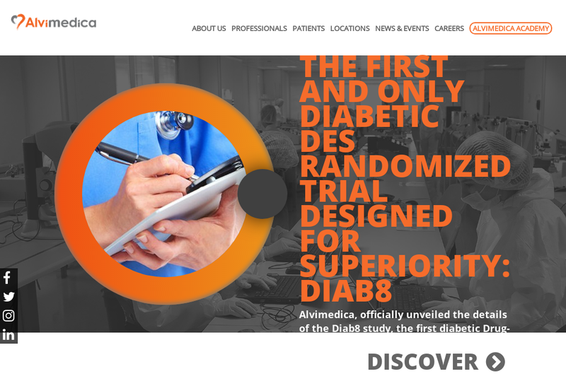Capture d'écran du site de Alvimedica Medical Technologies France