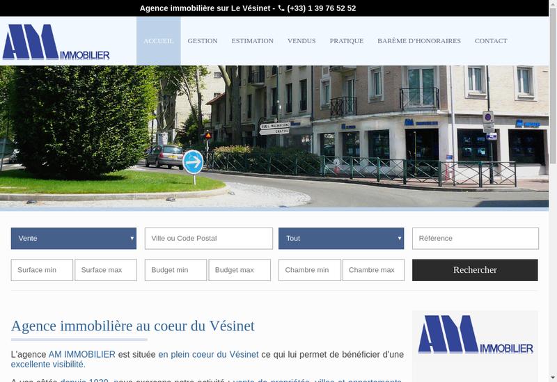 Capture d'écran du site de AM Immobilier
