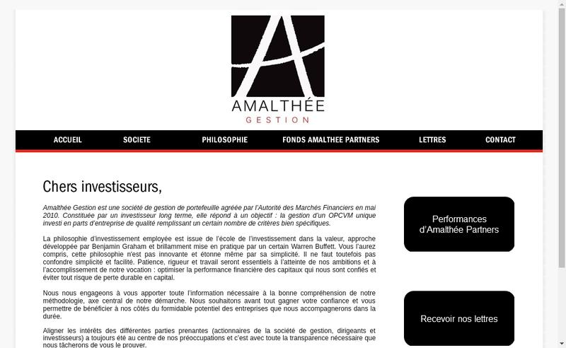 Capture d'écran du site de Amalthee Gestion