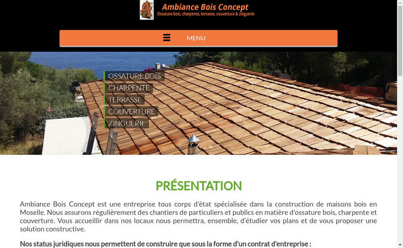 Capture d'écran du site de Ambiance Bois Concept