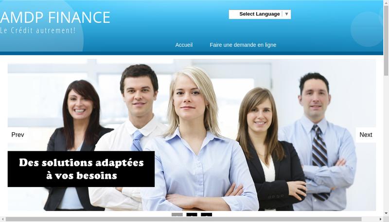 Capture d'écran du site de Amdp Finance
