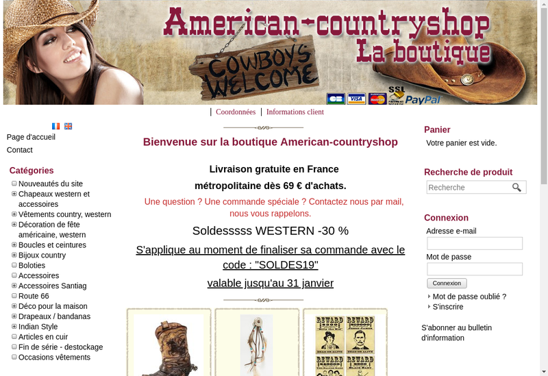 Capture d'écran du site de American Country Shop