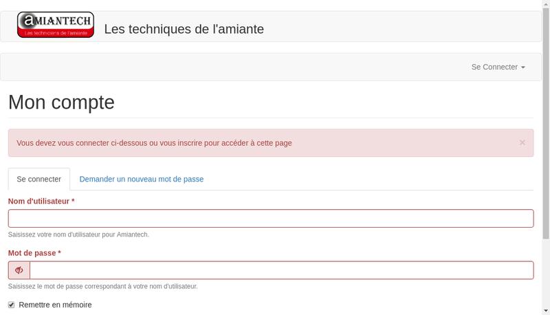 Capture d'écran du site de Amiantech