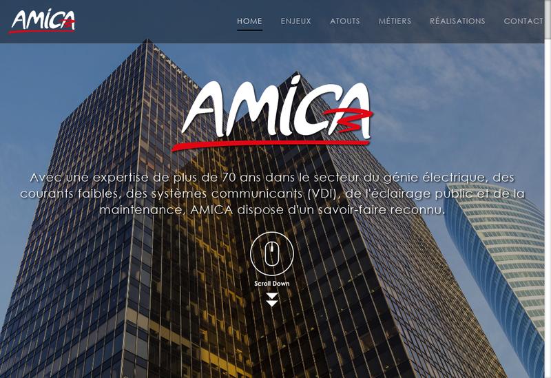 Capture d'écran du site de Entreprise Amica SA