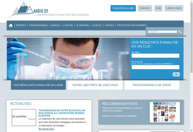 Capture d'écran du site de Anabio 05