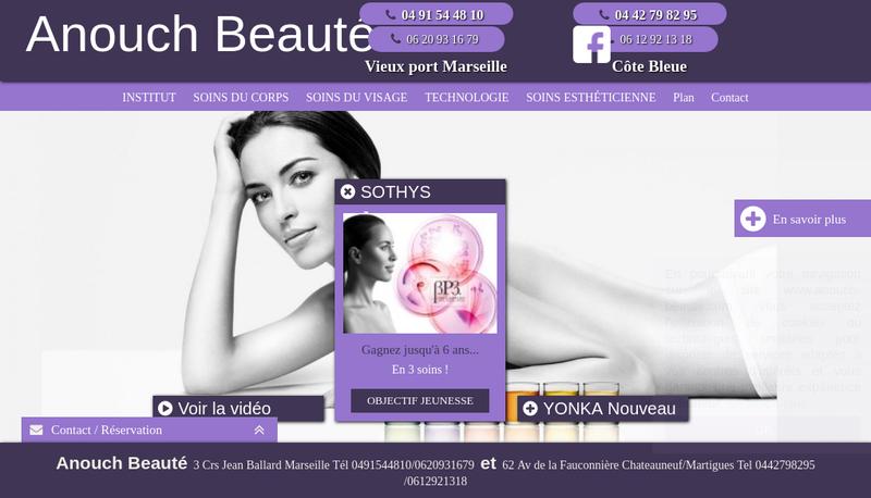 Capture d'écran du site de Anouch
