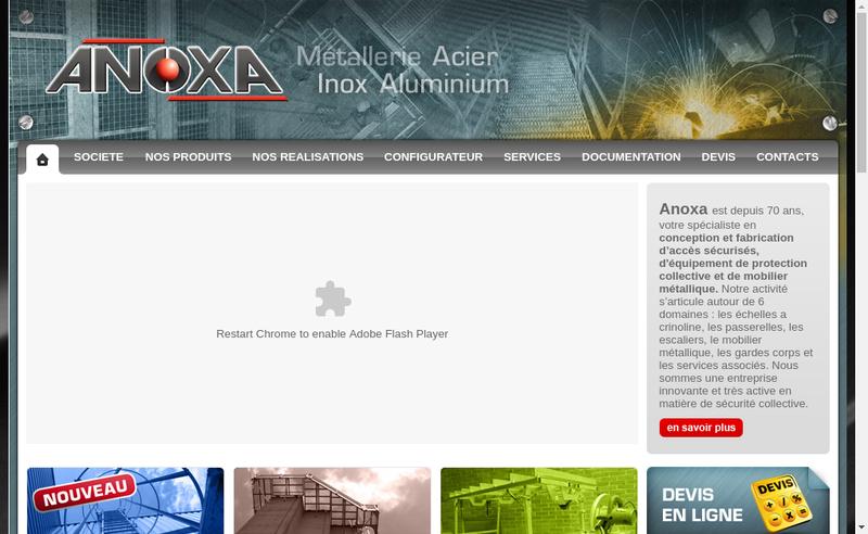 Capture d'écran du site de Anoxa