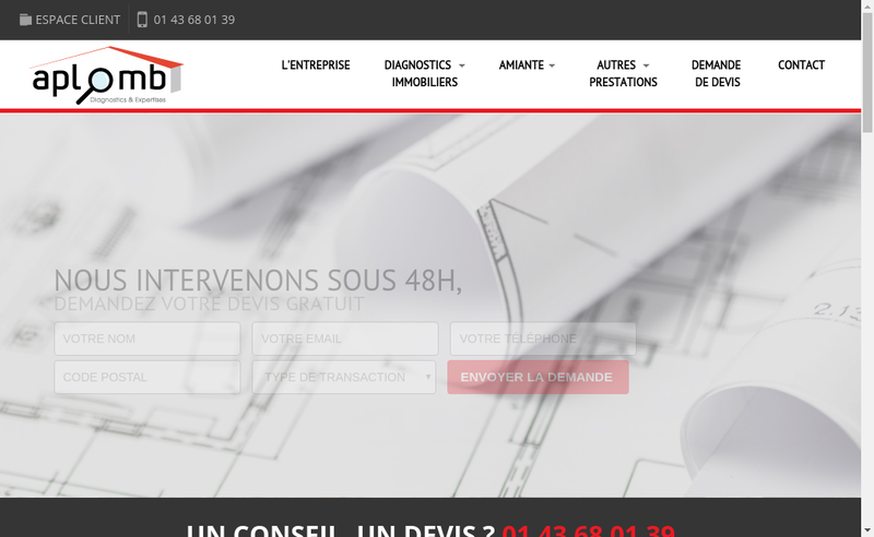 Capture d'écran du site de SARL Aplomb