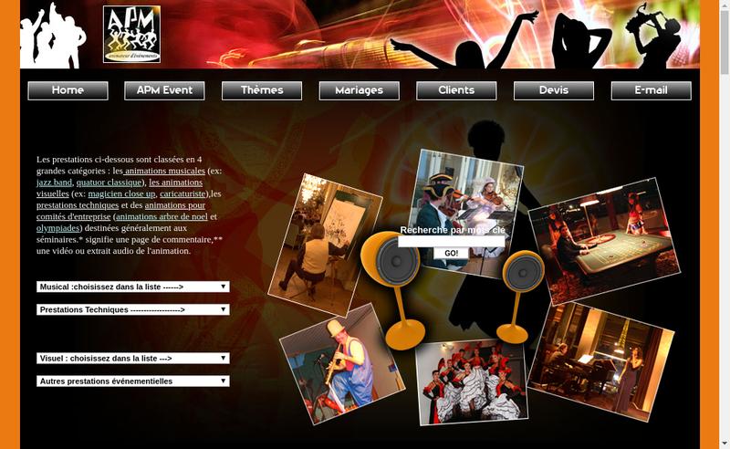 Capture d'écran du site de Apm Event