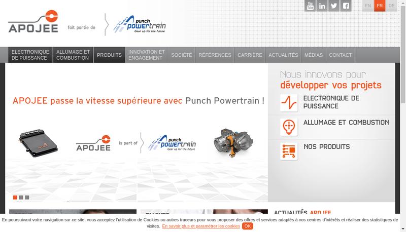 Capture d'écran du site de Apojee