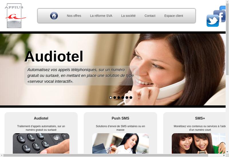 Capture d'écran du site de Appius SARL