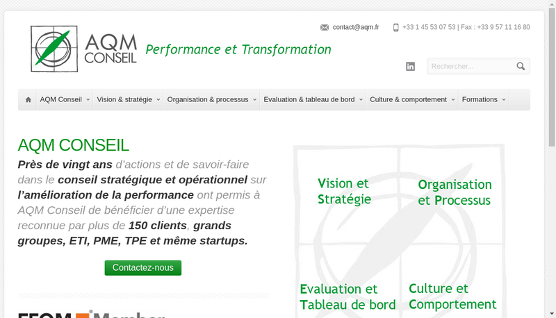 Capture d'écran du site de Aqm Conseil