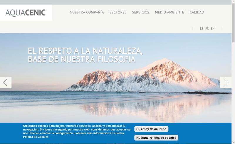Capture d'écran du site de Aquacenic Iberica Sociedad Limitada