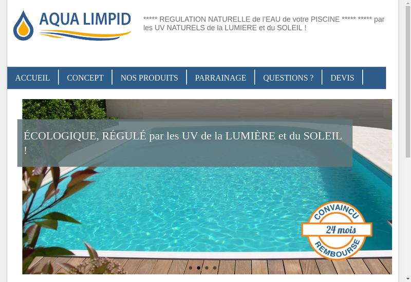 Capture d'écran du site de Aqua Limpid