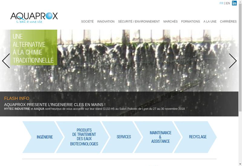 Capture d'écran du site de Aquaprox SAS
