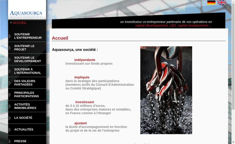 Capture d'écran du site de Aquasourca France