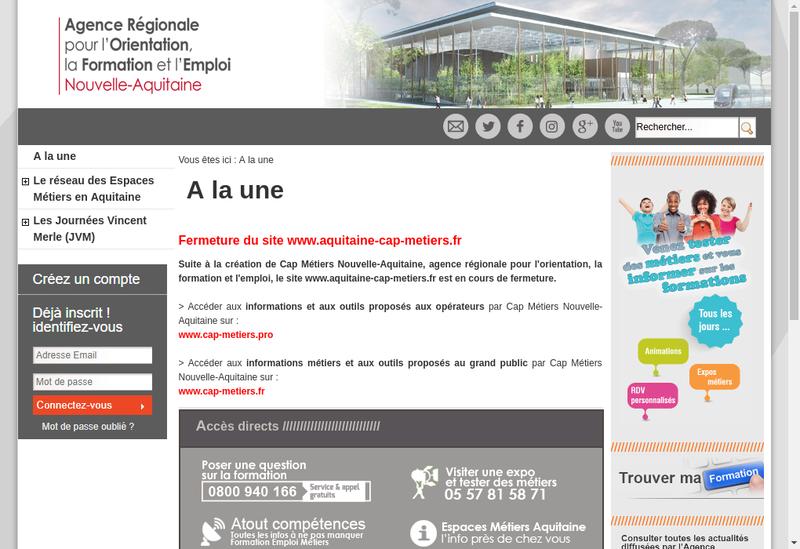 Capture d'écran du site de Aquitaine Cap Metiers