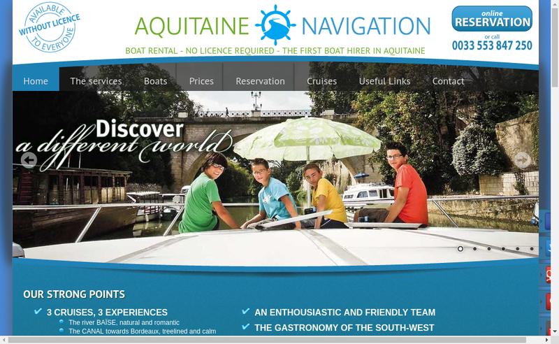 Capture d'écran du site de Aquitaine Navigation